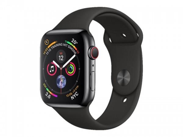 Apple Watch Series 4 (GPS + Cellular) - 44 mm - tiefschwarz Edelstahl - intelligente Uhr mit Sportba
