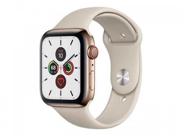Apple Watch Series 5 (GPS + Cellular) - 44 mm - Gold, Edelstahl - intelligente Uhr mit Sportband - F