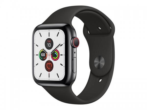 Apple Watch Series 5 (GPS + Cellular) - 44 mm - tiefschwarz Edelstahl - intelligente Uhr mit Sportba